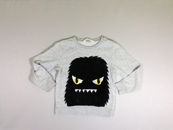 Sweat gris chiné Monstre velours