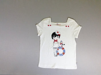 T-shirt m.c à revers blanc fille noeud rouge mouette