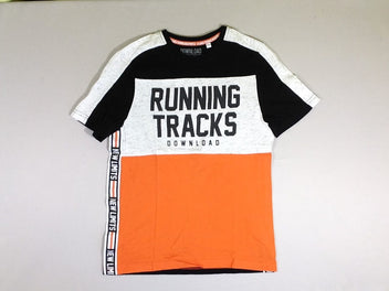 T-shirt m.c. noir/blanc flammé/orange Running Tracks