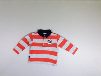 Polo jersey m.l gris chiné rayé orange
