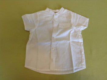 Chemise m.c blanche, col mao
