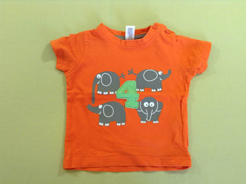 T-shirt m.c orange éléphants