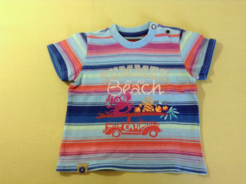 T-shirt m.c bleu rayé multicolore beach