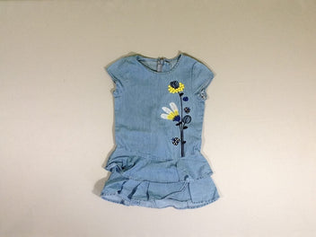 Robe m.c denim broderies fleurs volants