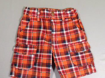 Short carreaux orange/gris anthracite poches