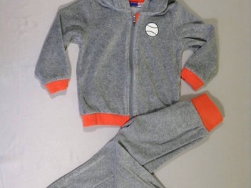 Ensemble sweat zippé à capuche + pantalon training gris chiné/orange