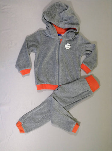 Ensemble sweat zippé à capuche + pantalon training gris chiné/orange, moins cher chez Petit Kiwi