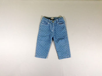 Pantalon denim pois blancs