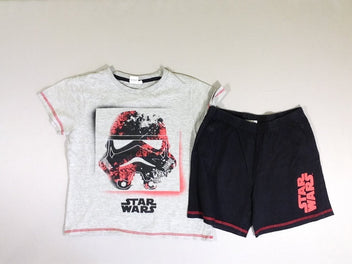 Pyjashort jersey 2pcs Star wars t-shirt gris chiné / short noir