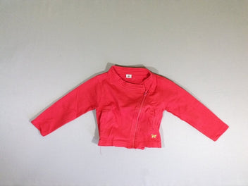 Sweat zippé rose vif papillon