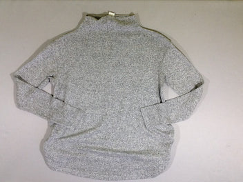 Pull gris chiné col montant