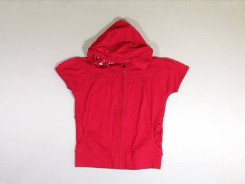 Sweat zippé m.c rouge à capuche