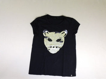 T-shirt m.c noir animal sequins réversibles