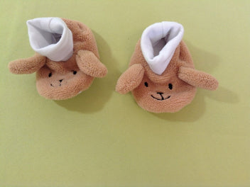 Chaussons velours beige 10,50cm