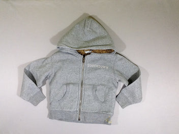 Sweat zippé à capuche gris chiné fourré peluche