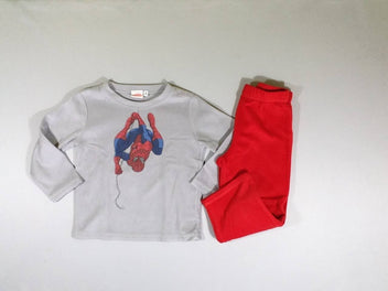 Pyjama 2 pcs polar gris/rouge Spiderman