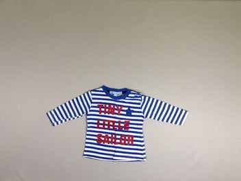 T-shirt m.l blanc rayé bleu Tiny little sailor