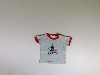 T-shirt m.c gris chiné col rouge tricycle