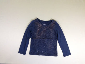 T-shirt m.l bleu broderies strass