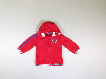 Sweat zippé à capuche rouge Superbaby