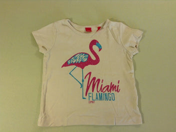 T-shirt m.c jaune flamant rose paillettes