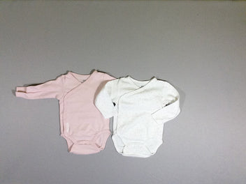 Lot de 2 bodies m.l blanc pois roses/rose