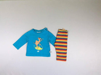 Little Woody ensemble t-shirt m.l turquoise dromadaire + legging rayé multicolore