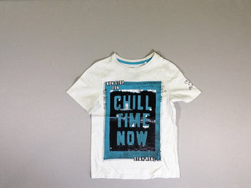 T-shirt m.c blanc equins réversibles Chill time now
