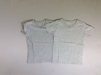 Lot de 2 t-shirts m.c gris chiné col V