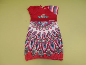 Robe m.c jersey rouge plumes