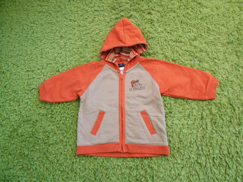 Sergent Major zippé à capuche brun/orange « pain d'épices », 18m
