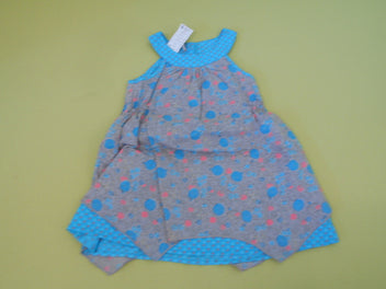 Robe s.m gris/turquoise/rose