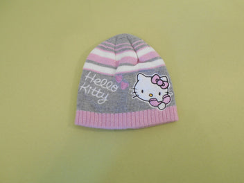 Bonnet gris chiné rayé rose blanc Hello Kitty, T.48cm