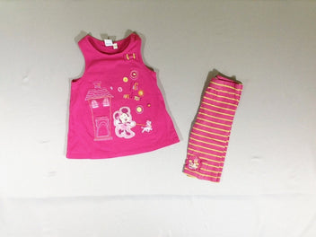 Robe s.m jersey rose Minnie + Legging rayé