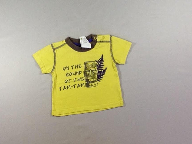 T-shirt m.c jaune « on the sound of the Tam-Tam » T.6m, moins cher chez Petit Kiwi