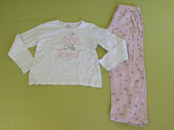 Pyjama 2pcs jersey blanc rose Love