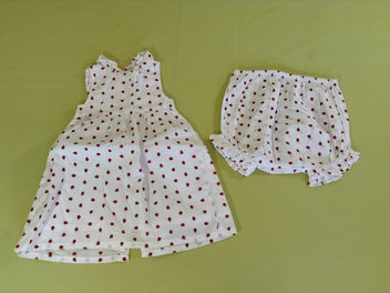 Robe s.m blanche coccinelles + bloomer