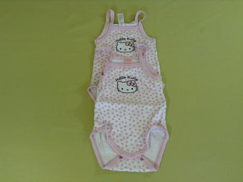 2 bodies fines bretelles blanc rose Hello Kitty