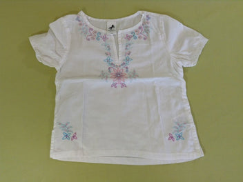 Blouse m.c blanche broderies
