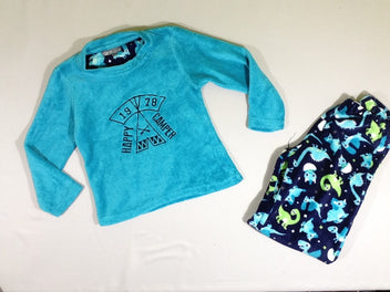Pyjama 2pcs softy bleu dinos