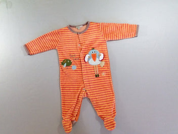 Pyjama velours orange rayé oiseaux