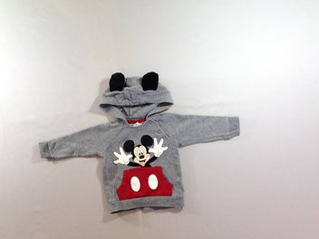 Sweat gris chiné Mickey à capuche