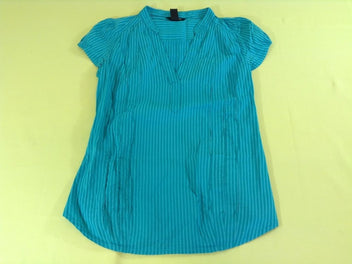 Blouse m.c turquoise rayée