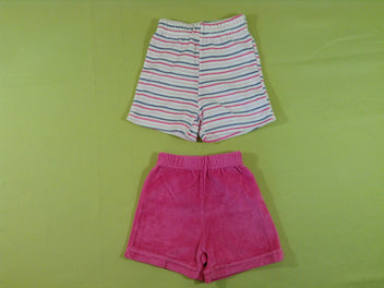 2 shorts velours rose et blanc rayé
