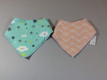 Lot 2 bavoirs bandanas rose bleu Bestbaby
