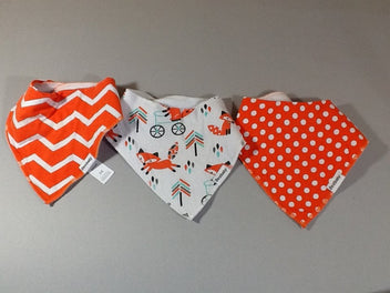 Lot 3 bavoirs bandanas orange renards Bestbaby