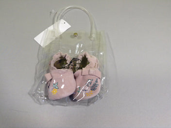 Neuf, Chaussons vieux rose fleurs 3-6m