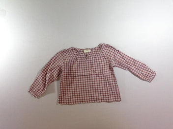 Blouse m.l à carreaux brun/rose/ blanc