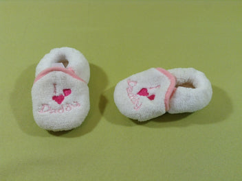 Chaussons peluche blanc/rose I love Daddy