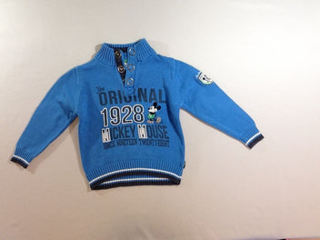 Pull col montant bleu Mickey